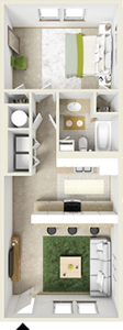 One Bedroom / One Bath - 713 Sq. Ft.*
