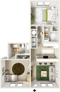 Two Bedroom B / Two Bath - 1,070 Sq. Ft.*