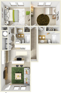 Two Bedroom A / Two Bath - 1,070 Sq. Ft.*